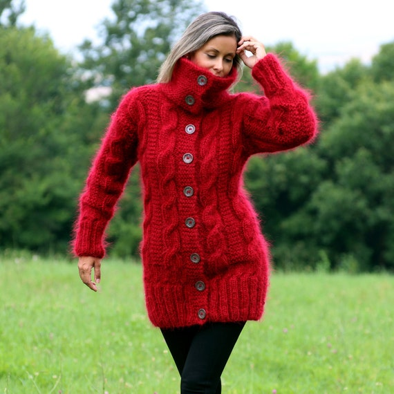 d5be52e159a0c Hand Knitted Mohair Cardigan Turtleneck Red Thick Fuzzy Coat