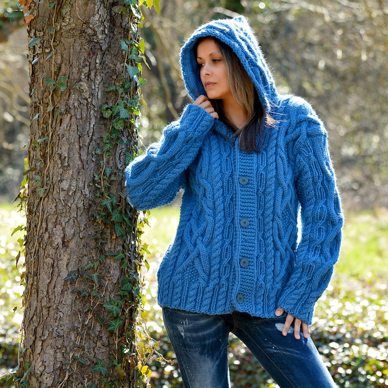 MADE to ORDER * Hand Knitted Boutique Wool Coat Cardigan Blue Sweater Hooded Jacket by EXTRAVAGANTZA