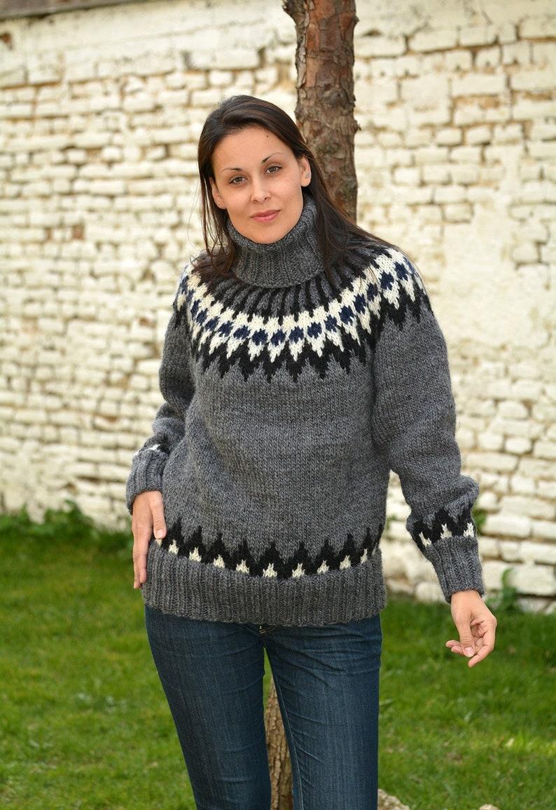 42638b6e65e Designer Hand Knitted Wool Sweater ICELANDIC Norwegian Dark Gray Fuzzy  Turtleneck Nordic Jumper Pullover Jersey by EXTRAVAGANTZA