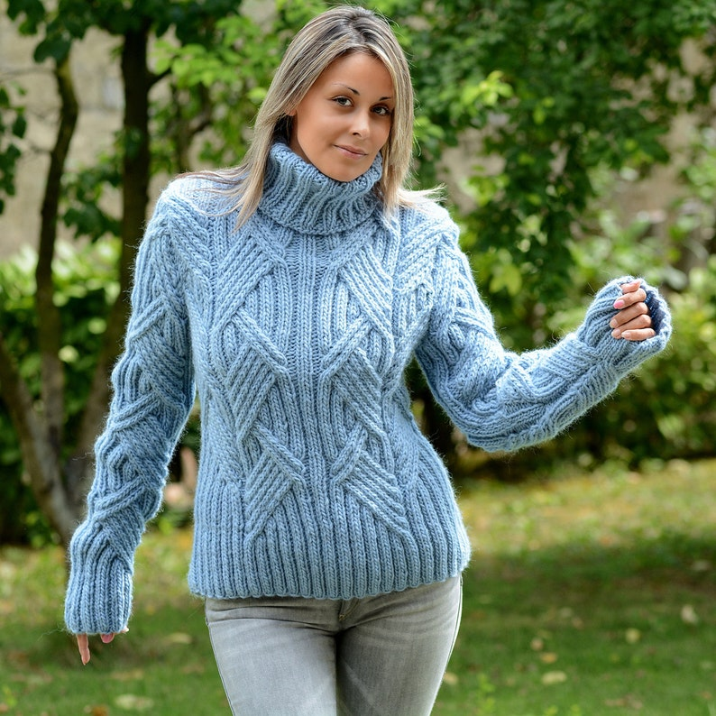 5d174a11426 Cable Hand Knit 100% WOOL Turtleneck Sweater Light Blue Fuzzy   Etsy