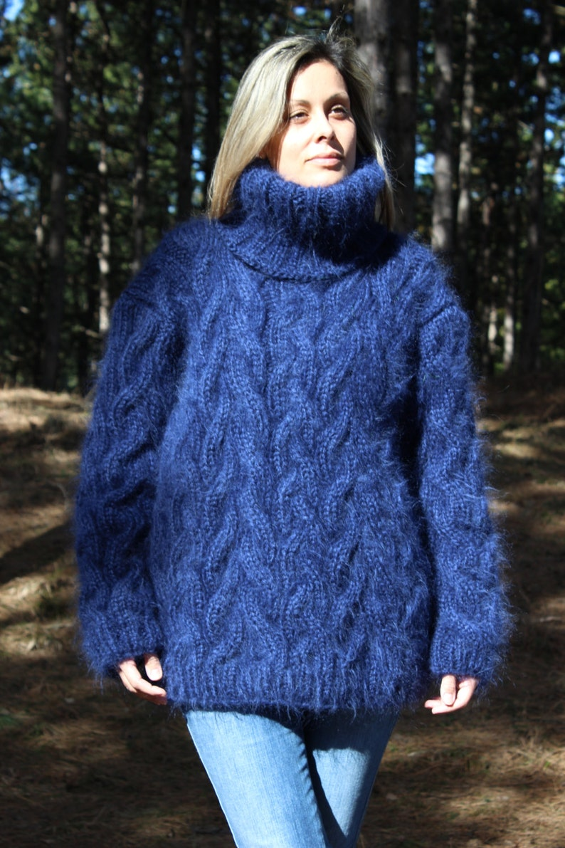 afbc75a424e Hand Knit Mohair Sweater Cable Blue Fuzzy Turtleneck Jumper | Etsy