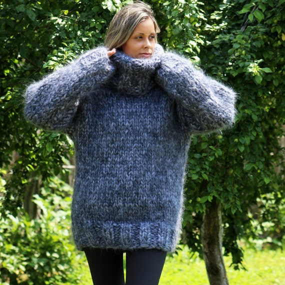 10 strands Hand Knit Mohair Sweater Gray Mix Thick Turtleneck Jumper Pullover by EXTRAVAGANTZA * MADE to ORDER *