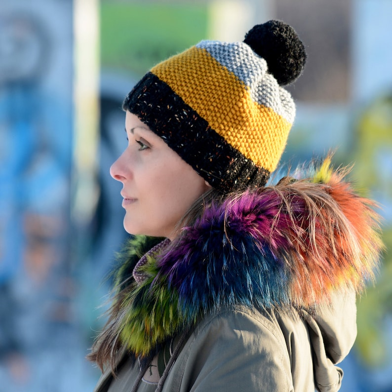 FREE SHIPPING Hand Knitted Hat Chunky Wool Yellow Black Pom Pom Multicolor Designer Winter Soft Gray Hat Warmer by EXTRAVAGANTZA