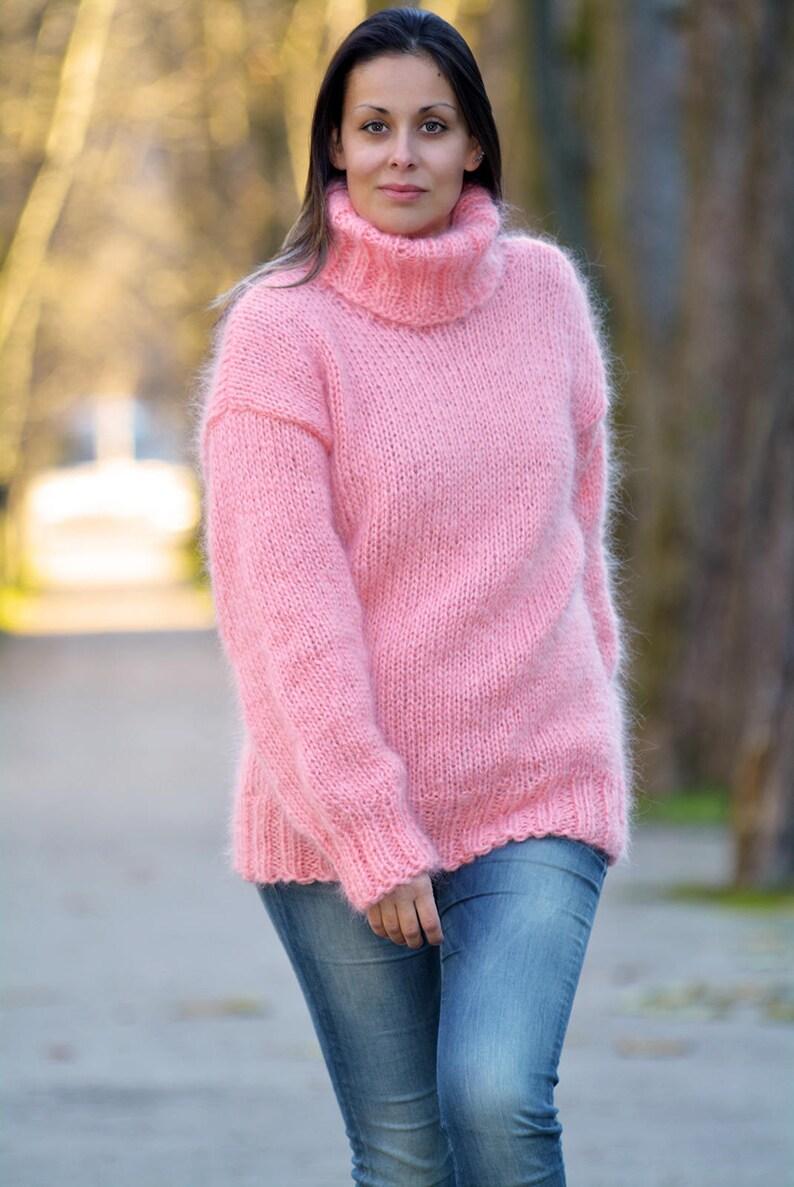 273ba22ef Designer Hand Knitted Mohair Sweater Light Pink Turtleneck