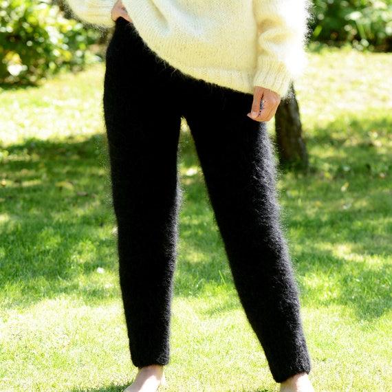 À la main tricot pantalon Mohair pantalon tricot pull noir couleur jambières fétiche Leggings fait sur commande b614ef