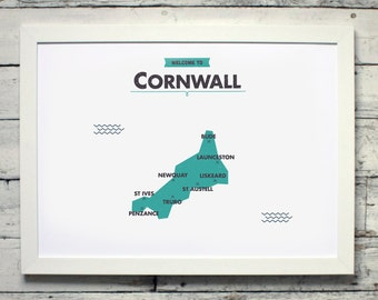 Cornwall County Map | # poster, print, map, vintage