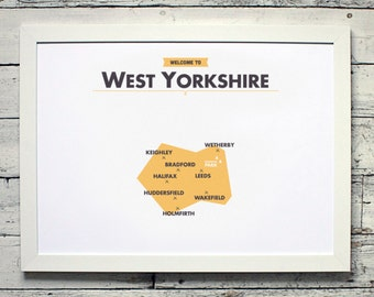 West Yorkshire County Map | # poster, vintage, retro, print
