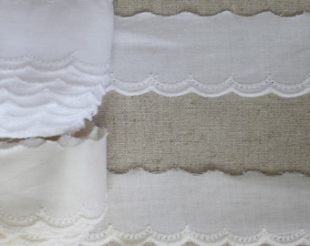 """14Yds Broderie Anglaise cotton eyelet lace trim 2.7/"""" white YH952 laceking2013"""