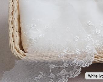 "Embroidery scalloped mesh net eyelet lace trim 3/"" YH596 laceking2013 7.5cm"