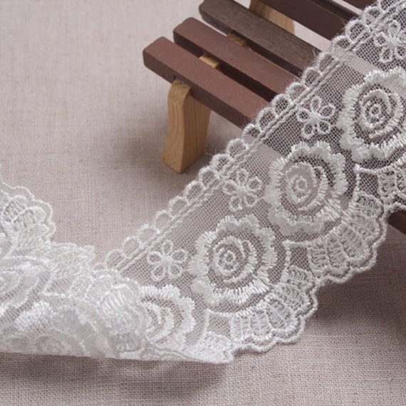 14Yds Embroidery scalloped mesh net eyelet lace trim trim lace 4.5cm White-Ivory YH962 laceking2013 94d43f