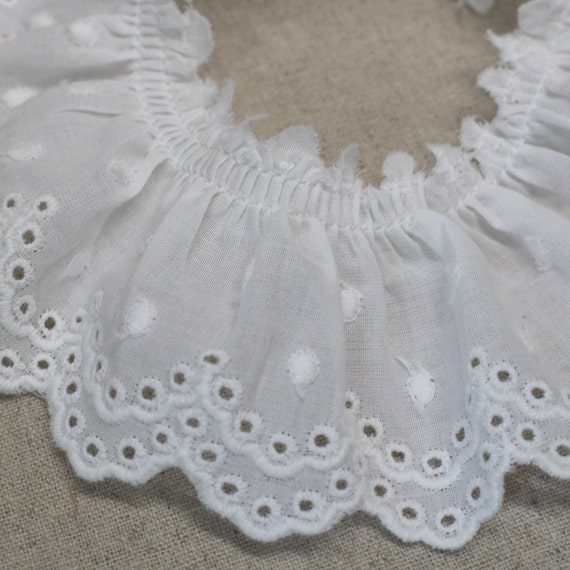 6 Continuous Yards White 2 Ruffled Gathered Embroidery Eyelet Trimming
