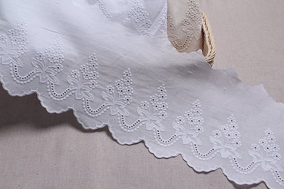 White Cotton Eyelet//Ribbon Slot Broderie Anglaise Flat Lace Trimming// 1 Metre