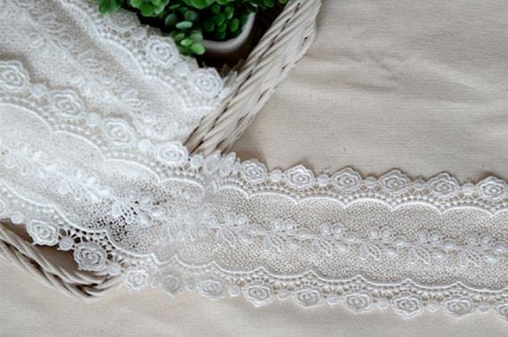 "YH1086 laceking2013 1yds Broderie Anglaise Vintage Venice lace trim 2/"" 5cm"