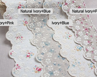 """14Yds Broderie Anglaise Embroidery scalloped flower linen eyelet lace trim 3.1"""" (8cm) YH1334L laceking2013 made in Korea"""