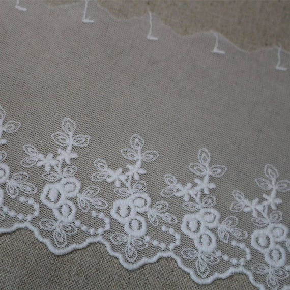 14yds Embroidery Cotton Broderie Anglaise tulle Eyelet Lace Trim 10cm YH1492 laceking2013