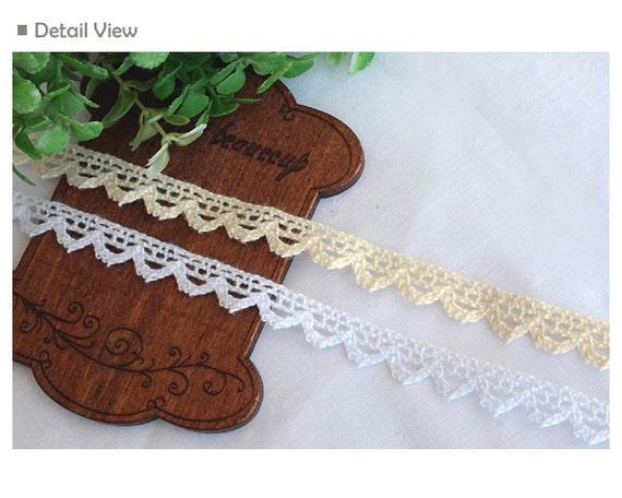 "0.8cm 3yds Broderie Anglaise cotton lace Crochet Trim 0.3/"" YH054 laceking2013"