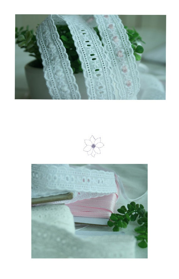 14Yds Broderie Anglaise cotton vintage wedding ribbon eyelet    lace trim 0.7
