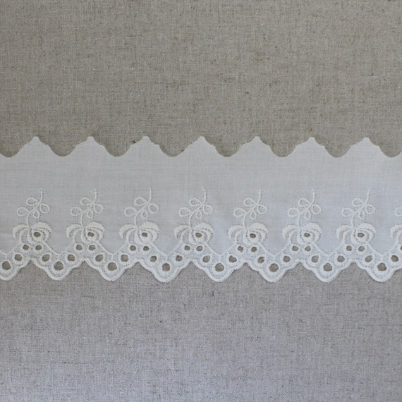 38 mm 1.5 Inch QUALITY IVORY CREAM Cotton Gathered Broderie Anglaise Lace Trim