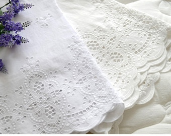 """Broderie Anglaise cotton eyelet lace Fabric 5.4""""(136cm)-By the Yard yh1519"""