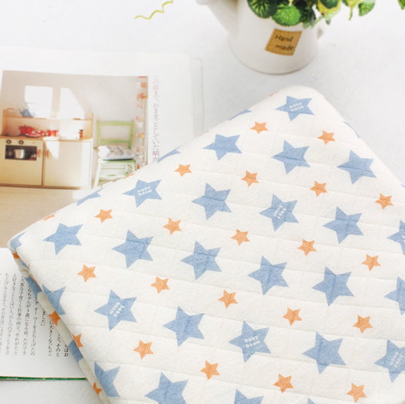 Quilted Cotton Knit Star Fabric by the Yard 75