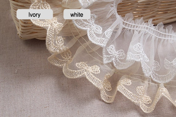 Lace Broderie Embroidery Gathered Insertion Slot /& Flat Lace Great Selection