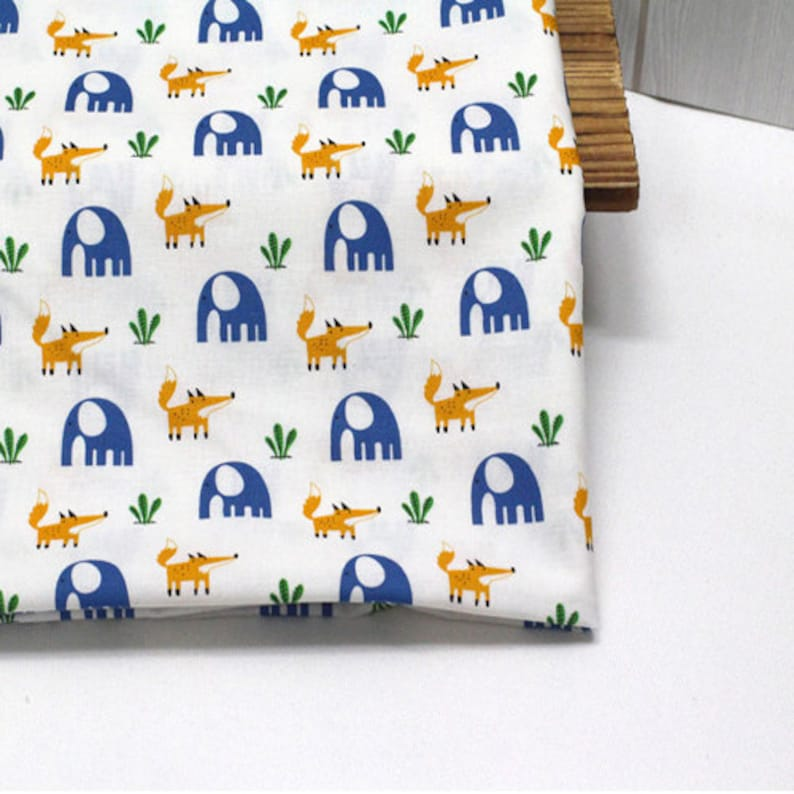 20s Cotton Fabric Fox and Elephant Fabric sewing by the Yard 44 Wide 62116y