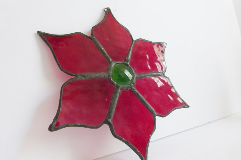 Stained Glass Poinsettia Sun Catcher Window Decor