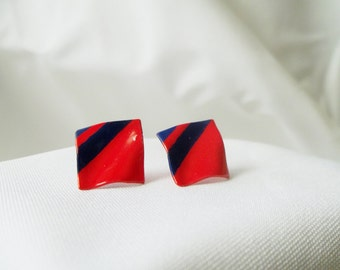 1980 Red and Purple Vintage Earrings. Minimalist Geometric. Retro