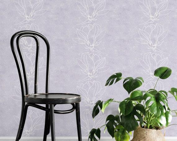 Lavendel Vliestapete, Blumen Tapete, Glattvlies, moderne Wanddeko, 50 cm Bahnbreite