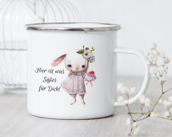 Emaille Tasse Süßer Hase, Campingbecher