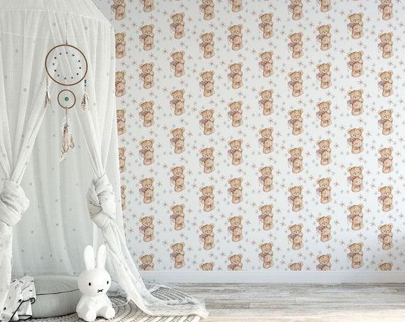 Teddy Tapete, Kinderzimmer Vliestapete, Teddybär Tapete, Glattvlies, 50 cm Bahbreite