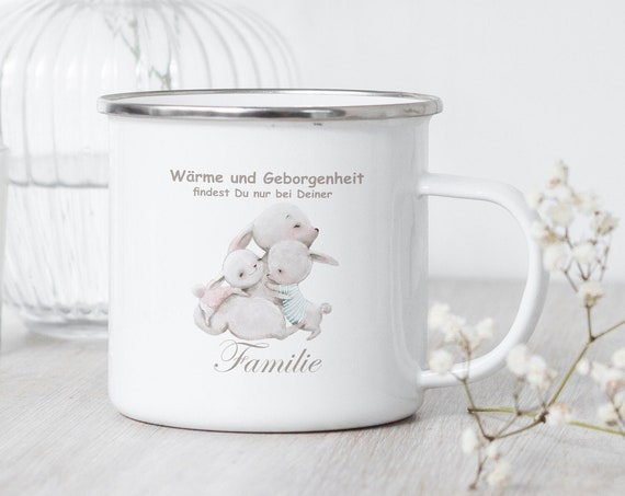 Emaille Tasse Familie, Campingbecher Hase Familie