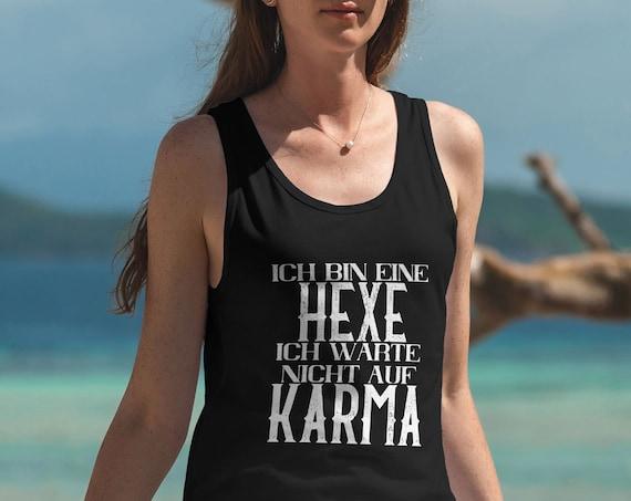 Sprüche Tank-Top, Hexe und Karma, schwarzes Tanktop
