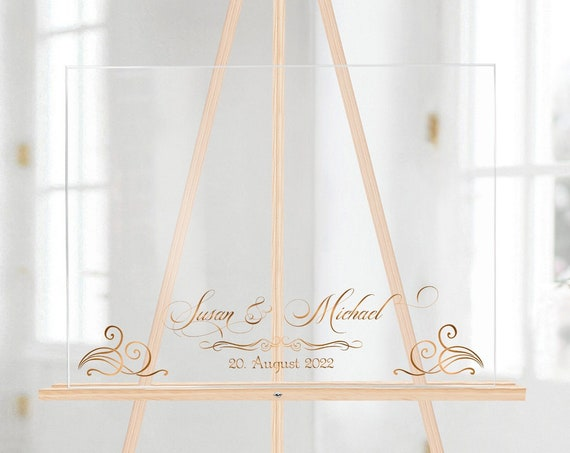 Gästebuch Alternative Acrylglas Schild, Hochzeitsgästebuch personalisiert, Hochzeitsschild
