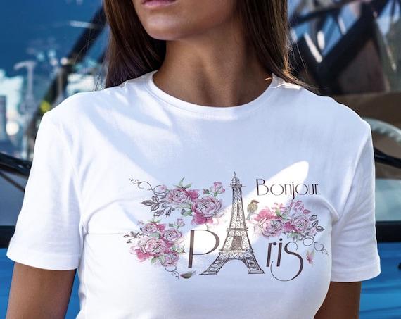 Bonjour Paris, T-Shirt, Eiffelturm, Damen Shirt, Geschenk