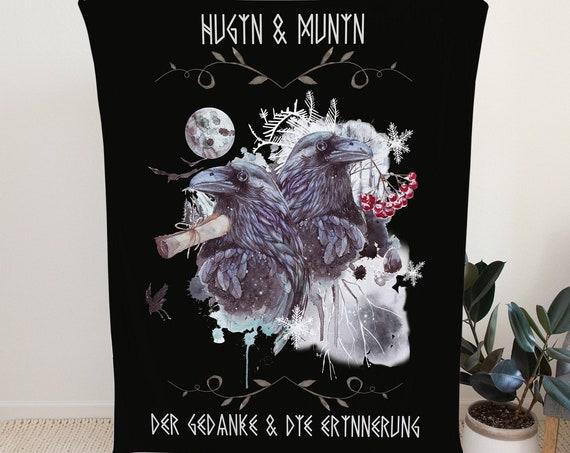Hugin und Munin Fleecedecke, Odins Raben Decke, Überwurf