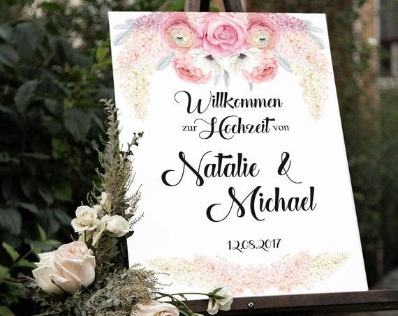 Willkommen Hochzeit Schild, Personalisierbar, Digitaldruck, druckbare Blume Tafel, Willkommensschild, Hochzeitsschild, Flieder und Rosen