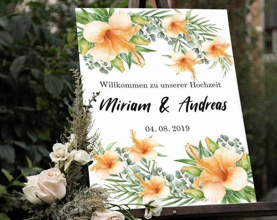 Willkommen Hochzeitsschild, Hochzeit, Strandhochzeit, Tropische Blüten, Florales Hochzeitsschild, Hochzeitsdeko, Empfang Schild, Verlobung