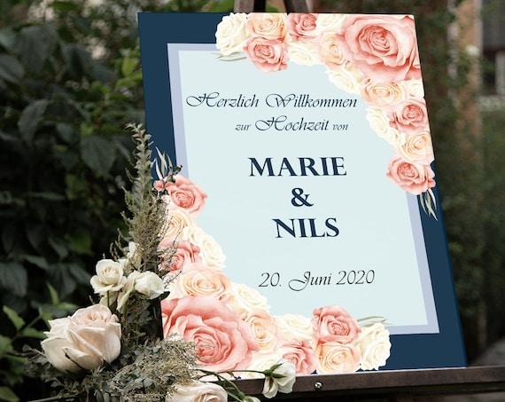 Hochzeitsschild, Willkommensschild, Willkommen zur Hochzeit, Hochzeit Poster, Leinwand, Leichtschaumplatte, Hochzeitsdeko, personalisiert