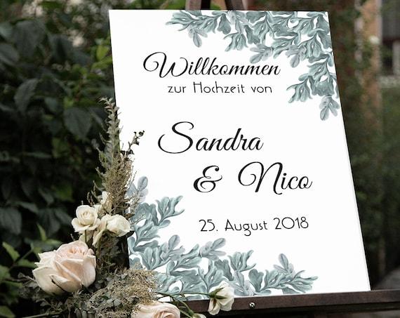 Willkommen Hochzeit Schild, Hochzeitsschild, Willkommensschild, Hochzeitsdeko, DIY Hochzeit, Willkommen Tafel, Empfang, Poster