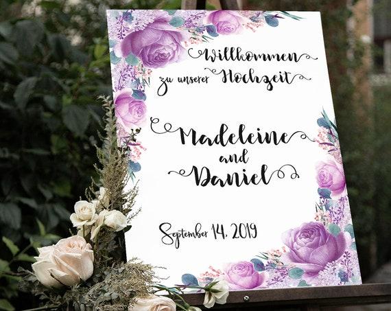 Willkommen Hochzeit Schild, Hochzeitsschild, Willkommensschild, Florales Hochzeitsschild, Lila Blumen Hochzeit, Hochzeitsdeko, Rosen, Poster