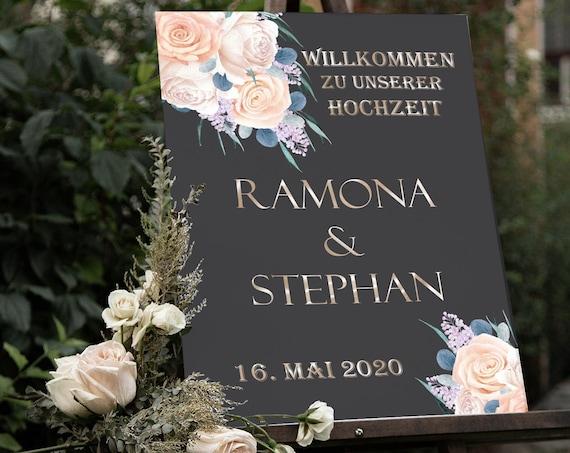 Hochzeitsschild Rosen auf Schwarz, Willkommensschild, Hochzeitsdeko, Willkommen zur Hochzeit, Poster, Leinwand, Leichtschaumplatte