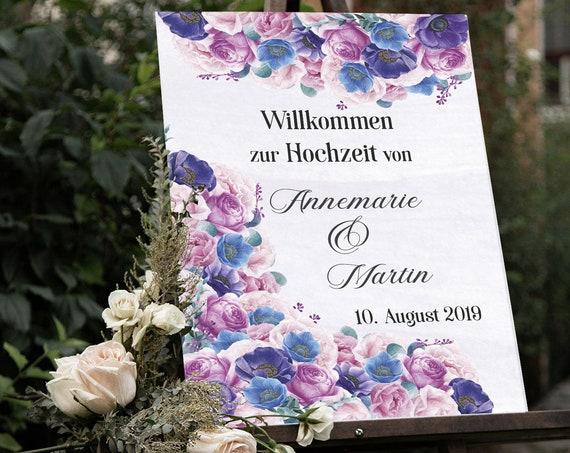 Willkommen zur Hochzeit, Hochzeitsschild, Willkommensschild, Violette Blumen, Blaue Blumen, Poster, Leinwand, Leichtschaumplatte