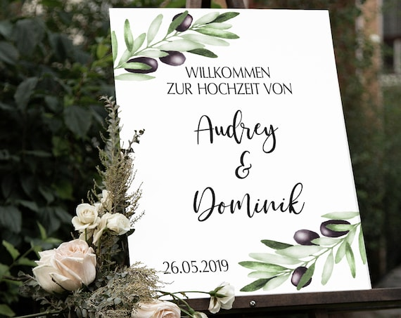 Oliven Hochzeitsschild, Mediterrane Hochzeit, Willkommen Hochzeit Schild, Willkommensschild, Grüne Olivenzweige, Botanische Hochzeit