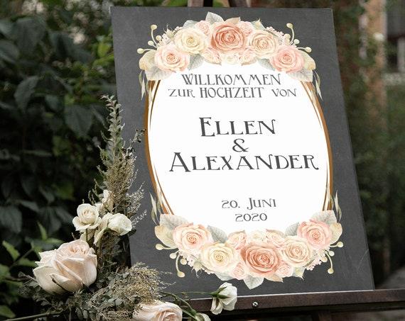 Hochzeit Willkommensschild, Hochzeitsschild, Hochzeit Schild drucken, Vintage Hochzeit, Hochzeitsdeko, Rosen Schild, rustikale Hochzeit