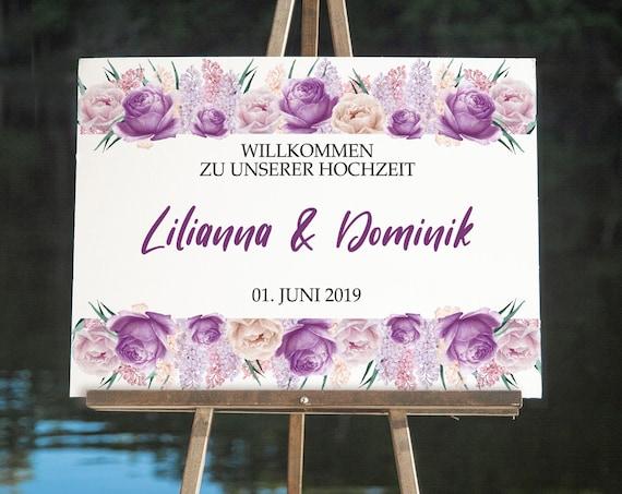 Lila Hochzeitsschild, Willkommen Hochzeit Schild, Rosen Willkommensschild, Hochzeitsdeko, Empfang Tafel, DIY Hochzeit, Poster, Leinwand
