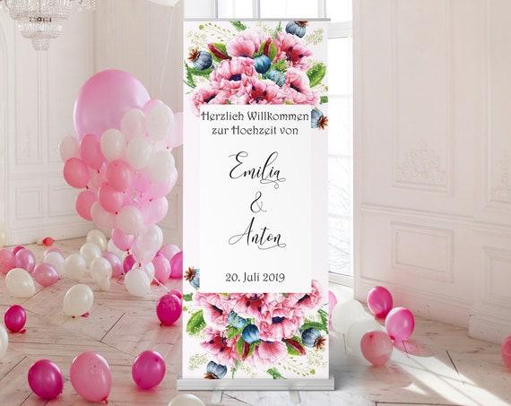 Mohnblume Hochzeitsschild, Willkommensschild, Banner Hochzeit