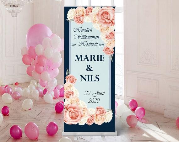 Hochzeitsbanner Navy - Koralle, Hochzeitsschild, Banner Willkommen zur Hochzeit
