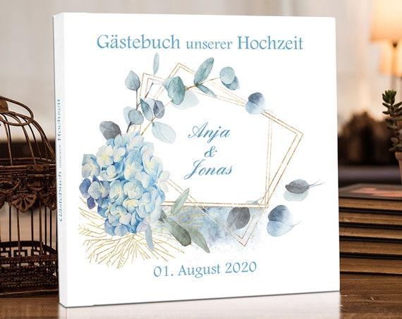 Gästebuch Hochzeit, Personalisiert, Hortensie, Hochzeitsgästebuch, Hochzeitsalbum, Fotobuch, Album