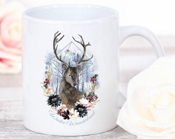 Winter Tasse, Kaffeebecher, Kafffetasse, Wunderland, Rentier Tasse, Hirsch, Geschenk, Weihnachten, Teetasse, Geschenkidee